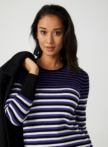 Stripe Print Sweater, Black, hi-res,  sweater, stripe print, striped sweater, long sleeves, rhinestones, fall 2019, winter 2019