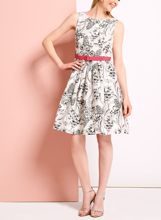 Pleated Floral Print Dress with Bolero, White
