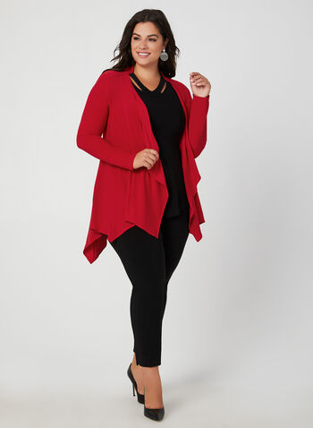 Joseph Ribkoff - Open Front Jersey Top, Red,  ¾ sleeves, jersey, Canada, asymmetric hemline, fall 2019, winter 2019