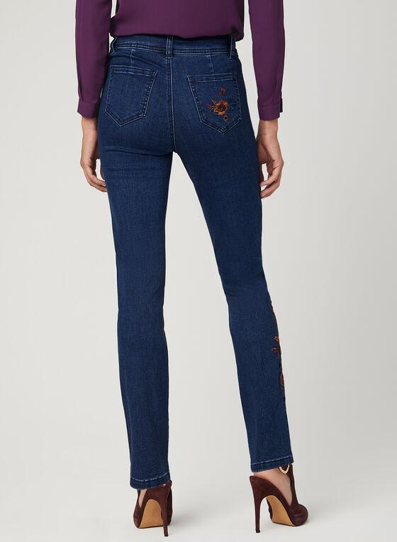 Jean coupe moderne à jambe droite et broderies florales, Bleu, hi-res