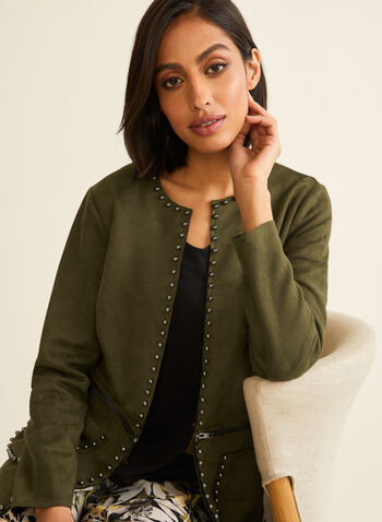 Faux Suede Convertible Jacket, Green,  spring summer 2020, long sleeve, jacket, faux suede, stud details, zipper