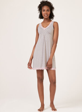 René Rofé - Floral Print Nightgown, Grey, hi-res