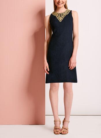 Crochet Lace Trim A-Line Linen Dress, , hi-res