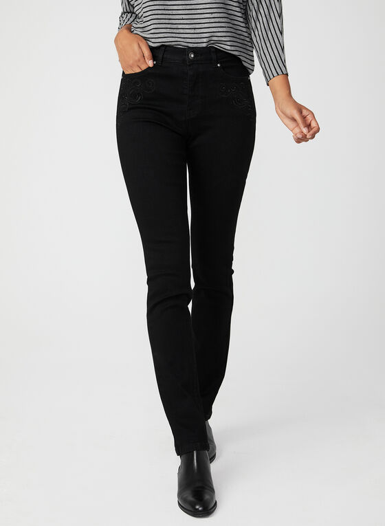 Modern Fit Slim Leg Jeans , Black, hi-res