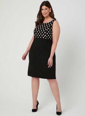 Polka Dot Print Dress & Jacket Set, Black, hi-res