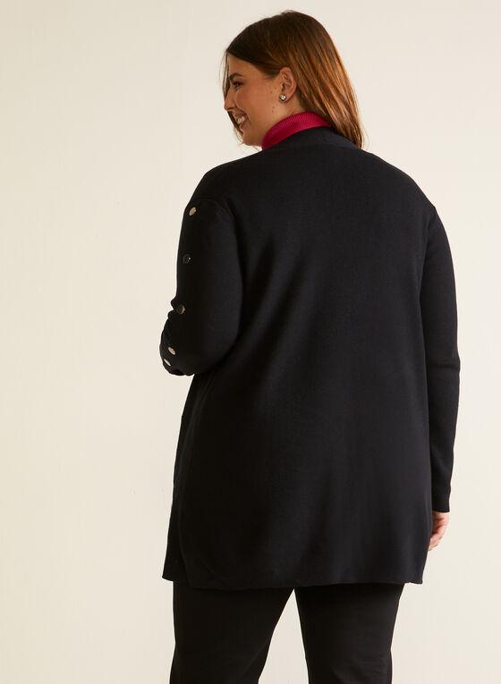Cardigan mi-long à détails boutonnés, Noir
