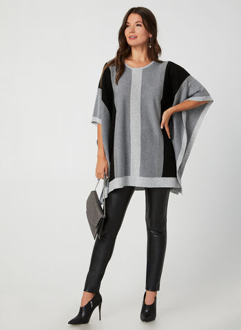 Colour Block Knit Poncho, Grey,  poncho, knit, colour block, rhinestones, fall 2019, winter 2019