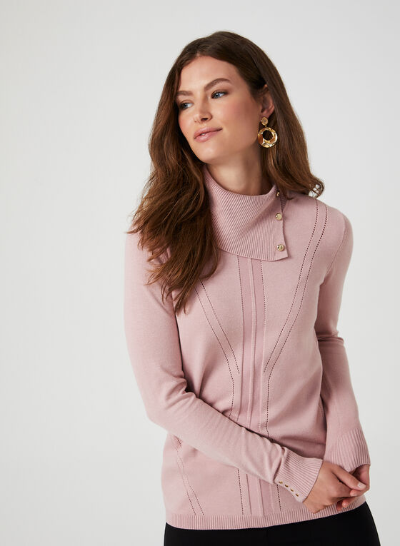 Novelty Stitch Turtleneck Sweater, Purple