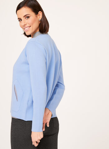 Elena Wang - Double Knit Cardigan , Blue, hi-res
