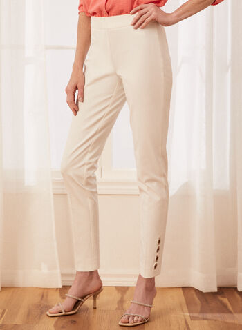 City Fit Button Detail Pants, Off White,  pants, city fit, button details, pleats, straight leg, pull-on, spring summer 2020