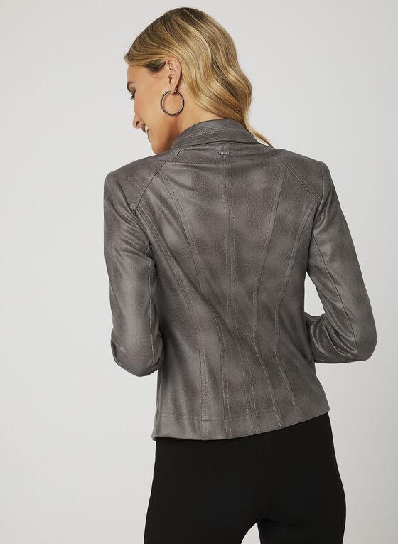 Vex - Open Front Faux Suede Jacket , Grey, hi-res