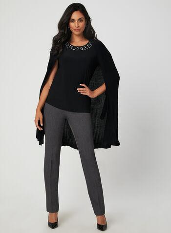 Pearl Detail Top, Black,  short sleeves, jersey, fall winter 2019, pearl detail