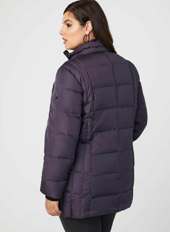 Novelti - Faux Fur Trim Quilted Down Coat, Purple, hi-res