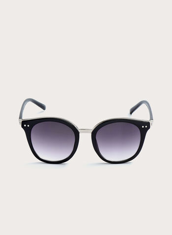 Round Metal Detail Plastic Sunglasses, Black, hi-res