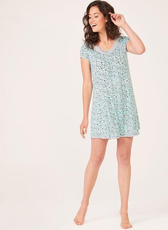 René Rofé – Floral Print Night Shirt, Blue, hi-res