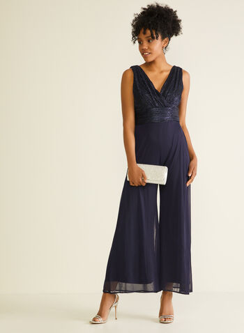 Metallic & Chiffon Jumpsuit, Blue,  jumpsuit, occasion, metallic, chiffon, wide leg, v-neck, sleeveless, wrap, spring summer 2020