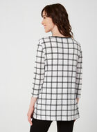Plaid Print ¾ Sleeve Top, White, hi-res