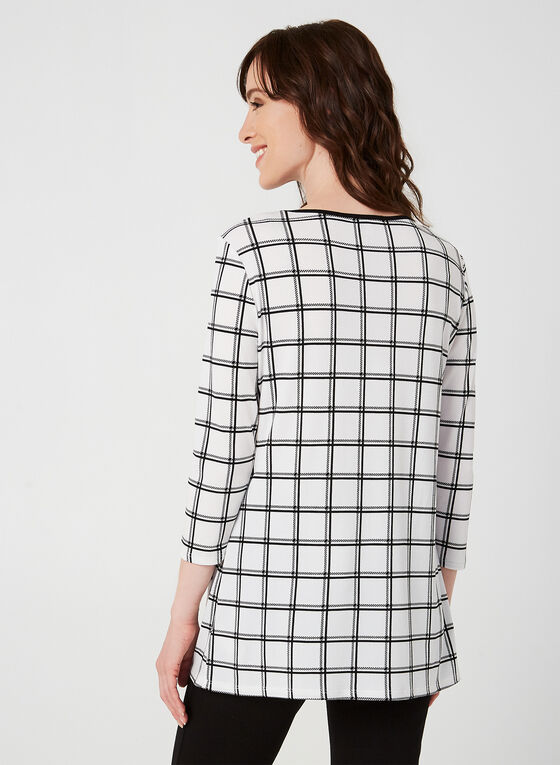 Plaid Print ¾ Sleeve Top, White