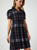 Plaid Print Dress, Purple