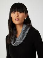 Robe en tricot à détails chevrons, Noir