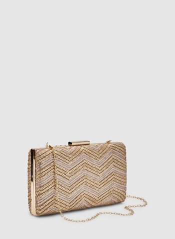 Sequin Box Clutch, Off White, hi-res