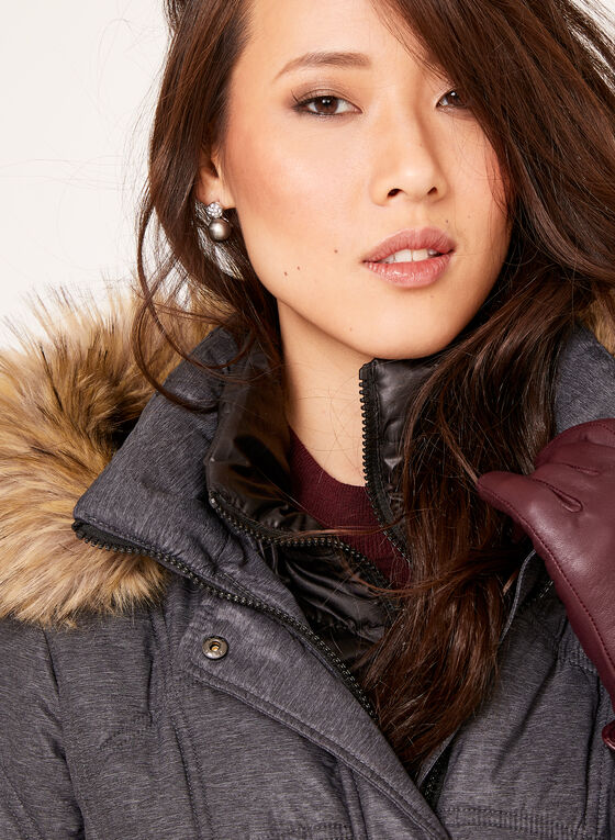 Removable Faux Fur Quilted Coat , Grey, hi-res