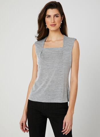 Textured Sleeveless Top, Black, hi-res,  square neck, spring 2019, canada