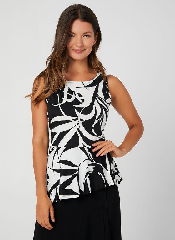 Floral Print Sleeveless Top, Black