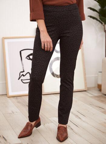 Pantalon à enfiler à motif léopard , Brun,  fait au canada, automne hiver 2021, pantalon, à enfiler, pull on, jambe étroite, taille élastique, imprimé animal, léopard