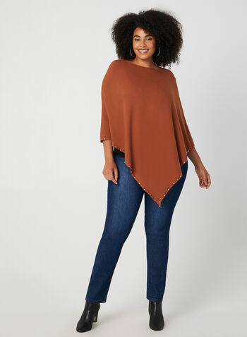 Pearl Detail Poncho, Brown,  fall winter 2019, knit fabric, pearl detail, scoop neck