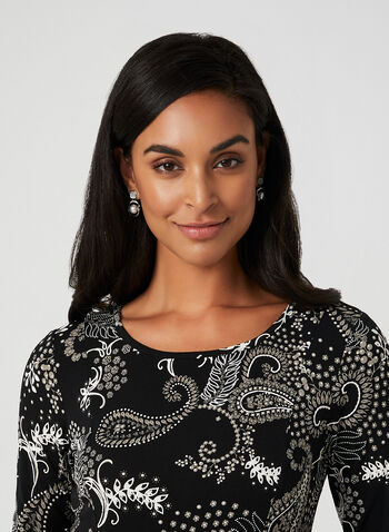 Paisley Print Jersey Maxi Dress, Black,  paisley, maxi dress, 3/4 sleeves, fit and flare, fall 2019, winter 2019