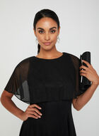 Glitter Mesh Dress With Caplet, Black