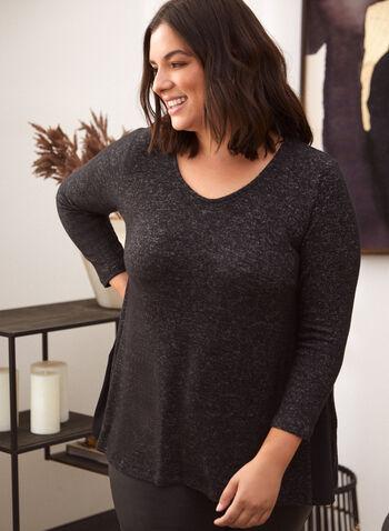 Pull en tricot chiné à manches ¾, Gris,  automne hiver 2020, pull, chandail, tricot, encolure ronde, manches 3/4, chiné, asymétrique, fendu, fait au Canada