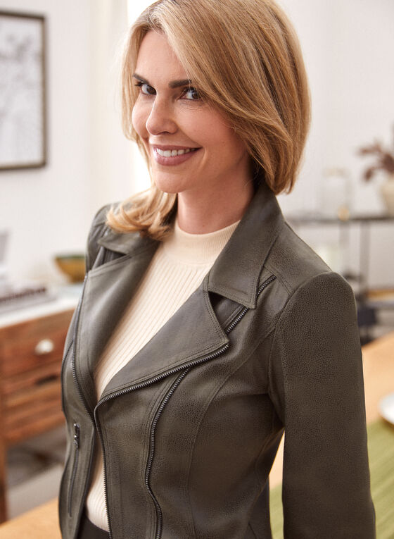 Vex - Vegan Leather Jacket, Green