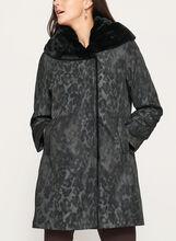 Manteau col en fausse fourrure et motif camouflage, Gris, hi-res