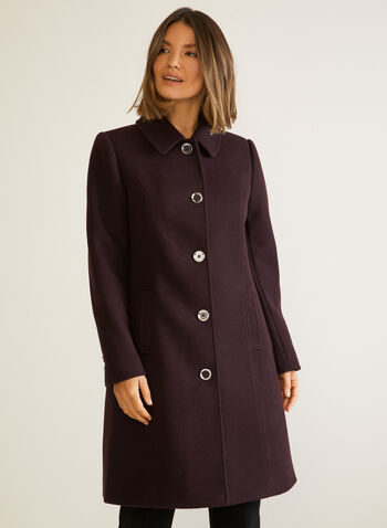 Stretch Wool Blend Structured Coat, Purple,  fall winter 2020, coat, structured, stretchy, wool, buttons, pockets, holiday