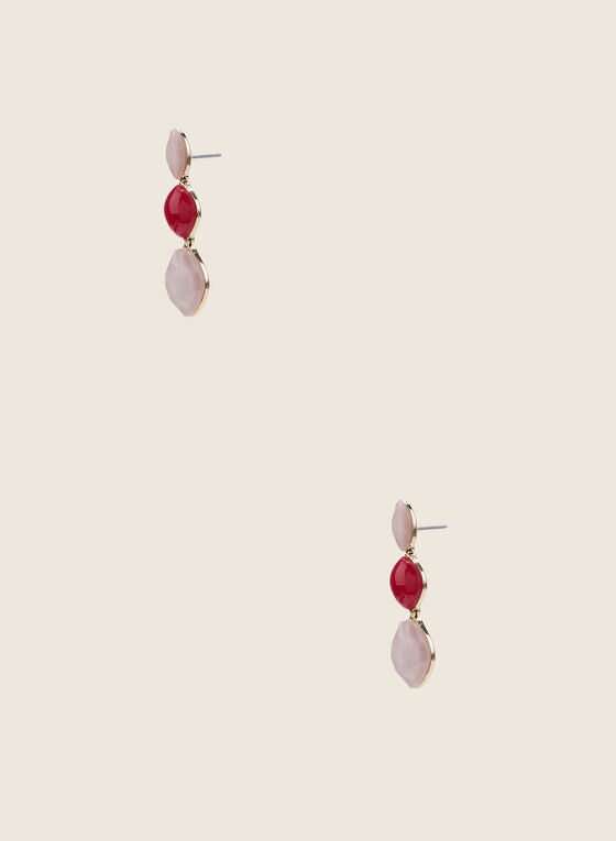 Triple Faceted Stone Earrings, Pink