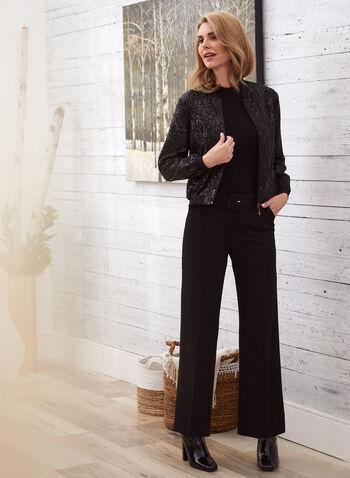 Pantalon ceinturé à jambe large  , Noir,  pantalon, jambe large, plis, ceinture, poches, taille haute, poches, automne hiver 2020