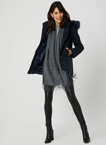 Hooded Wool Blend Coat, Blue, hi-res