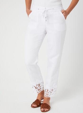 Pantalon coupe moderne en lin mélangé, Blanc, hi-res,  crochet, cordons, printemps 2019, jambe large