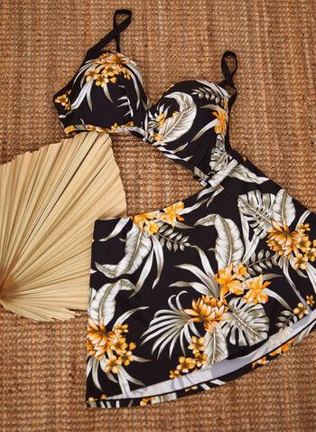 Nass-eau - Bikini deux pièces à jupette et motif floral, Jaune,  nass-eau, maillot de bain, bikini, haut, bas, culotte, encolure en coeur, bretelles ajustables, bonnets moulés, soutien-gorge à armatures, bonnet D, détail torsadé à l'avant, motif floral, taille haute, jupette intégrée, fentes latérales, printemps été 2021, plage, piscine, vacances