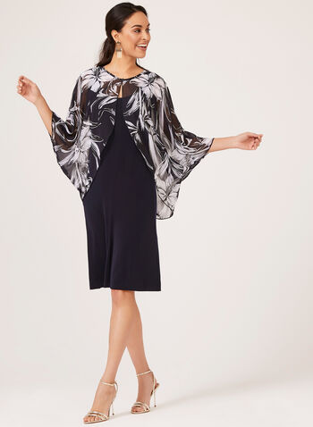 Day Dress with Floral Print Bolero, Blue, hi-res