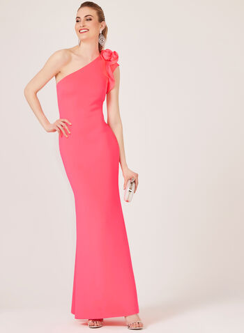 One Shoulder Scuba Mermaid Dress, Pink, hi-res