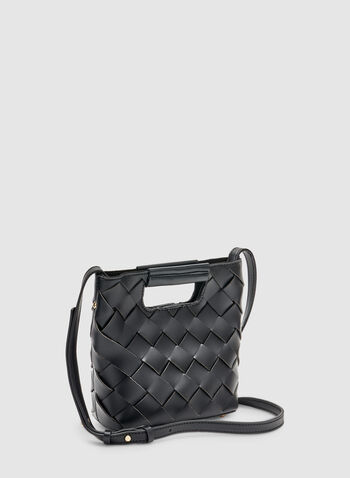 Basket Weave Handbag, Black, hi-res