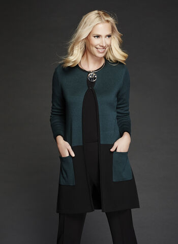 Long Sleeve Colour Block Cardigan , Black, hi-res