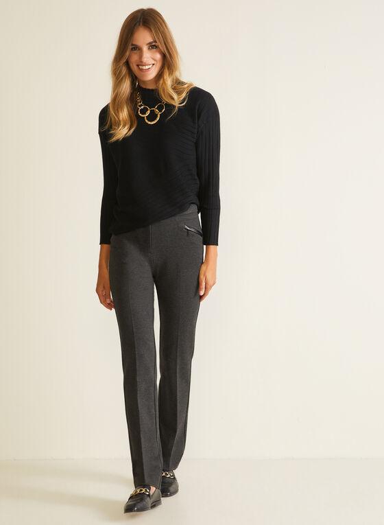 Wool Blend Mock Neck Sweater, Black