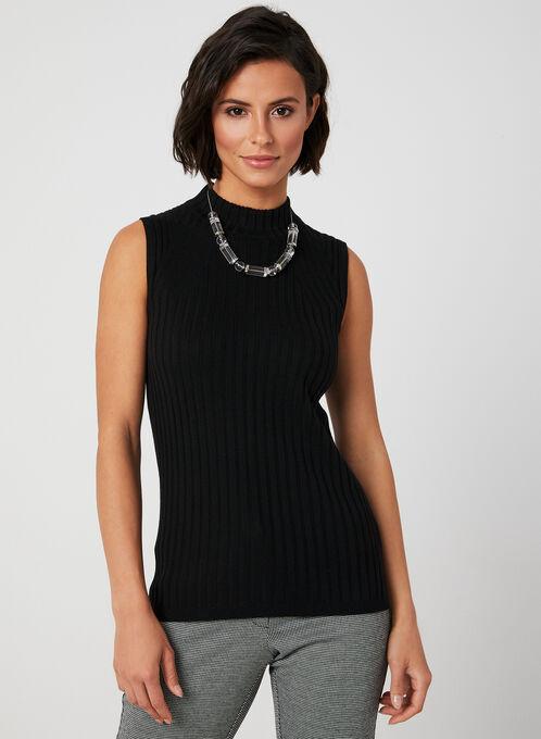 Mock Neck Knit Top, Black, hi-res