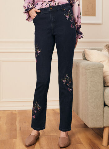 Floral Embroidered Straight Leg Jeans, Blue,  jeans, denim pockets, floral, embroidered, straight leg, spring summer 2021