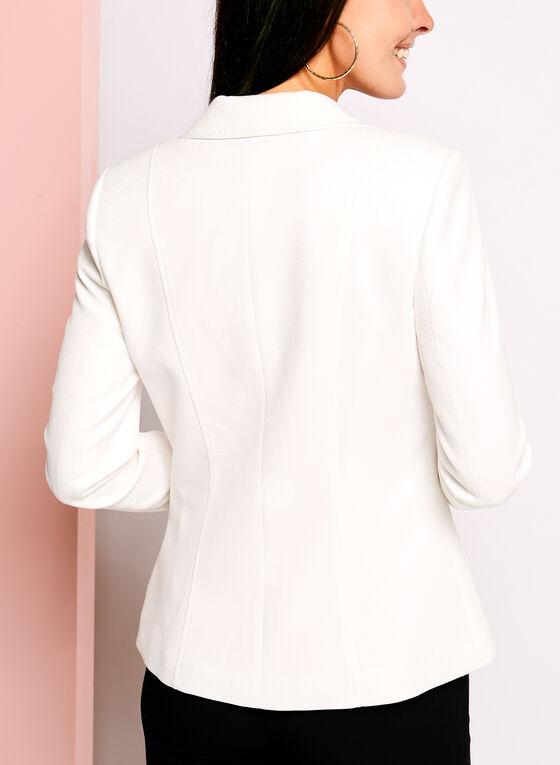 One-Button Pique Ponte Blazer, White, hi-res