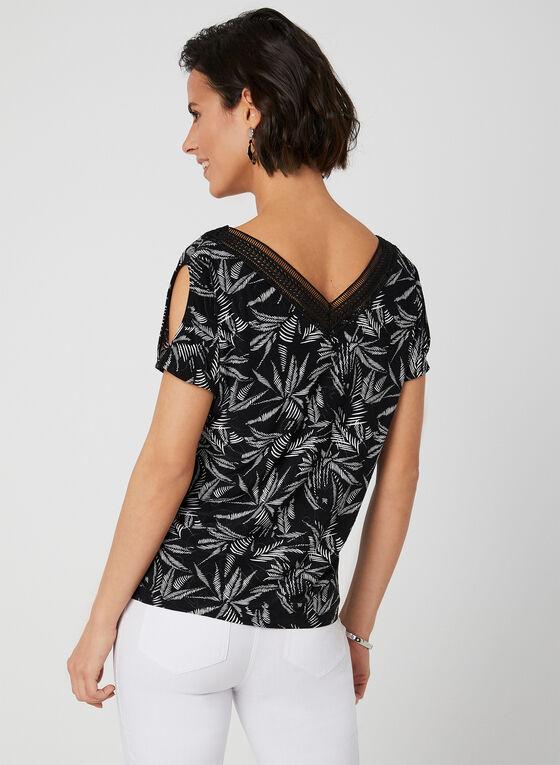 Blouse à imprimé feuilles et détail en crochet, Noir, hi-res